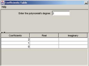 The Coefficients Table Window (degree 2)